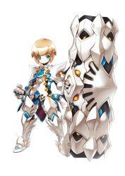 1boy armor blackjd83 blonde_hair cannon chung_(elsword) elsword expressionless gauntlets gloves greaves green_eyes huge_weapon male_focus necktie solo standing weapon white_background
