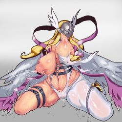 1girl angel angel_wings angewomon areolae artist_request bandai blonde_hair breast_grab breast_sucking breasts digimon female helmet huge_breasts lactation legs long_hair milk nipples plump pussy_juice self_breast_sucking sitting solo sweat thick_thighs wide_hips