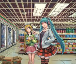 2girls 7-eleven :o alternate_eye_color aqua_hair bag bespectacled black_shirt blonde_hair blue_eyes bow box cardboard_box casual ceiling ceiling_light convenience_store crossed_arms flipped_hair frilled_skirt frills glasses grey_jacket hair_bow hair_ornament hand_in_pocket hatsune_miku head_tilt headphones headphones_around_neck horizontal-striped_legwear index_finger_raised indoors jacket jewelry kagamine_rin long_hair long_sleeves looking_at_viewer multiple_girls necklace newx open_clothes open_jacket open_mouth pendant pepsi perspective plaid plaid_skirt red-framed_eyewear red_eyes red_skirt ribbon shelf shirt shop short_hair shoulder_bag signature skirt smile soda_can striped striped_legwear sweatshirt thighhighs tied_hair tile_floor tiles twintails very_long_hair vocaloid white_ribbon x_hair_ornament zettai_ryouiki