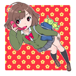 1girl ahoge black_legwear brown_hair cardigan cellphone flower-shaped_pupils frog frog_hair_ornament hair_ornament hairclip kari_(kakko_k) kneehighs loafers open_mouth original phone school_uniform shoes short_hair skirt smile solo stuffed_animal stuffed_frog stuffed_toy