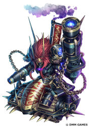 arm_cannon armor chains character_request commentary_request glowing glowing_eyes kei-suwabe long_hair official_art oni_horns oni_mask oshiro_project oshiro_project_re red_eyes red_hair shoulder_armor smoke smokestack spikes weapon