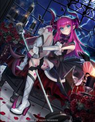 1girl bat blood blue_eyes candle corset dragon_girl dragon_tail fang fate/extra fate/extra_ccc fate_(series) flower honnou_(kjs9504) horns lancer_(fate/extra_ccc) lightning long_hair looking_at_viewer microphone microphone_stand pink_hair pointy_ears rose smile solo tail thighs