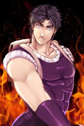 1boy blue_eyes jojo_no_kimyou_na_bouken jonathan_joestar kyykttk looking_at_viewer male muscle purple_hair solo