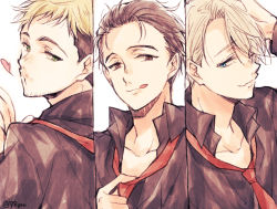 3boys :q black_hair blonde_hair blue_eyes brown_eyes christophe_giacometti column_lineup facial_hair green_eyes hair_over_one_eye heart katsuki_yuuri lowres male_focus multiple_boys naho_(pi988y) necktie one_eye_closed silver_hair smile tongue tongue_out viktor_nikiforov yuri!!!_on_ice