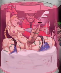 1girl 2boys abs aonozakura_aruto arms_up blonde_hair blush boots breasts cammy_white capcom captured colored cum cum_bath empty_eyes erect_nipples erection futa_with_male futanari highres huge_penis indoors inverted_nipples mikoyan multiple_boys muscle nipples nude open_mouth penis pussy squatting street_fighter testicles vega veins veiny_penis