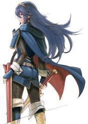 1girl belt black_legwear blue_eyes blue_gloves blue_hair boots cape fingerless_gloves fire_emblem fire_emblem:_kakusei gloves hairband holding holding_sword holding_weapon kirusu long_hair lucina pantyhose profile sheath simple_background solo striped striped_legwear sword tiara vertical-striped_legwear vertical_stripes weapon white_background