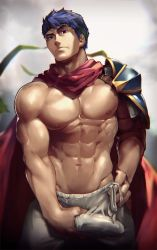 1boy 8_(yamalu) abs bara blue_hair bulge crotch erection fire_emblem groping headband ike looking_at_viewer male_focus muscle nipples pecs presenting solo undressing