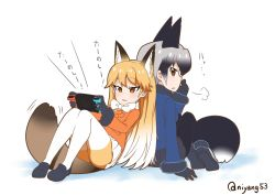 2girls animal_ears back-to-back black_gloves black_hair black_legwear black_skirt blonde_hair blue_jacket bow bowtie brown_eyes commentary_request ezo_red_fox_(kemono_friends) fox_ears fox_tail gloves grey_hair handheld_game_console jacket kemono_friends long_hair long_sleeves multicolored_hair multiple_girls nekota_susumu nintendo_switch orange_jacket pantyhose playing_games pleated_skirt silver_fox_(kemono_friends) simple_background sitting skirt tail tsurime twitter_username white_skirt