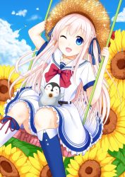 1girl ;d absurdres arm_up belt bird blonde_hair blue_eyes blue_ribbon blush blush_stickers bow braid character_request cloud collarbone copyright_request day dress eyes_closed flower hair_ribbon hat highres kneehighs long_hair mismatched_legwear one_eye_closed open_mouth outdoors outstretched_arms penguin red_bow ribbon sailor_dress short_sleeves sitting sky smile sparkle standing straw_hat sunflower swing tsunamayo_(flying_cat) very_long_hair white_dress