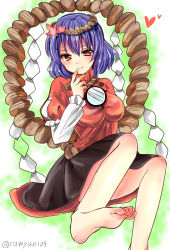 1girl barefoot black_skirt blue_hair blush breasts finger_to_mouth hair_ornament heart highres juliet_sleeves large_breasts leaf_hair_ornament long_sleeves looking_at_viewer mirror puffy_sleeves ramudia_(lamyun) red_eyes rope shimenawa short_hair skirt smile solo touhou twitter_username yasaka_kanako