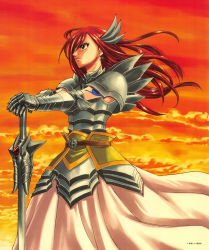 1girl armor belt breastplate erza_scarlet fairy_tail gauntlets hair_ornament long_hair long_skirt mashima_hiro official_art red_hair shoulder_pads skirt solo sunset sword tattoo weapon