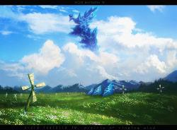 bad_id cloud fantasy field mountain no_humans pinwheel pixiv_fantasia pixiv_fantasia_4 sakai_yoshikuni scenery spring tent windmill
