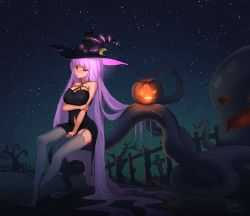 1girl absurdres black_dress blush breasts crescent dress graveyard halloween hat highres jack-o'-lantern large_breasts long_hair patchouli_knowledge purple_eyes purple_hair sky solo star_(sky) starry_sky tentacle touhou witch_hat