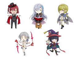 4boys androgynous animal_ears blonde_hair blue_eyes bob_cut book boots cat_ears chibi glasses green_eyes grey_hair harold_j_albert hat heterochromia kuroi kuroinyan london_city_and_buddy long_hair multiple_boys pixiv_fantasia pixiv_fantasia_new_world red_hair smile witch_hat
