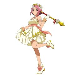 1girl brown_eyes dress flower gloves hair_flower hair_ornament highres holding lisbeth looking_at_viewer official_art pink_hair short_hair simple_background smile solo staff strapless strapless_dress sword_art_online sword_art_online:_code_register white_background white_gloves