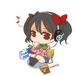 1girl 2014 bag black_hair bow bowtie brand_name_imitation caloriemate cardigan cellphone chibi dated eating green_bow green_bowtie hair_bow headphones highres koss love_live! love_live!_school_idol_project milk_carton mota musical_note phone red_bow red_eyes school_bag school_uniform short_hair simple_background sitting solo striped striped_bow striped_bowtie twintails white_background yazawa_nico
