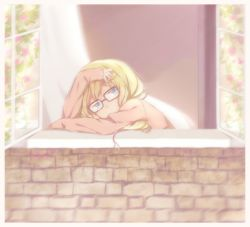 1girl alternate_hairstyle blonde_hair blue-framed_eyewear glasses highres long_hair long_sleeves miyazono_kawori pink_shirt shigatsu_wa_kimi_no_uso shirt solo tamagoyaki_(megane-daisuki)