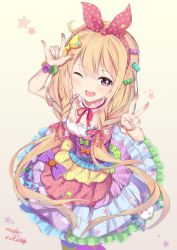 1girl \m/ alternate_hairstyle blonde_hair braid dress frilled_dress frills full_body futaba_anzu hair_ornament hair_ribbon headband highres idol idolmaster idolmaster_cinderella_girls idolmaster_cinderella_girls_starlight_stage long_hair looking_at_viewer low_braid open_mouth ribbon seedkeng smile solo twin_braids v very_long_hair