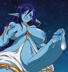 1girl areolae armlet blue_skin breasts earrings elzikyuchi erection from_below futanari huge_breasts jewelry large_penis long_fingernails long_hair looking_at_viewer magi_the_labyrinth_of_magic mnjs nipple_piercing nipples paimon penis photoshop piercing pointy_ears pov precum purple_eyes purple_hair solo standing topless veiny_penis