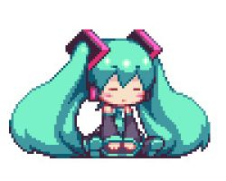 1girl aqua_hair bangs blush_stickers chibi detached_sleeves hair_ornament hatsune_miku headphones long_hair lowres md5_mismatch pixel_art sb sb_(coco1) smile solo twintails vocaloid