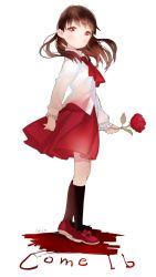 1girl anco_(melon85) brown_hair flower ib ib_(ib) long_hair red_eyes rose solo