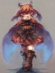 1girl boots bow cape creepy crossed_arms grin hair_bow halloween hands inari_(flandoll-scarlet-devil) light_trail looking_at_viewer pointy_ears red_eyes red_hair sekibanki shirt skirt smile solo straitjacket touhou walking