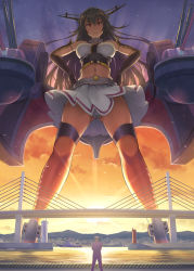 >:( 1boy 1girl admiral_(kantai_collection) antennae black_hair bridge brown_eyes cannon cloud crop_top gauntlets giantess hands_on_hips harbor headgear highres kantai_collection kuro_oolong long_hair looking_at_viewer machinery midriff military military_uniform nagato_(kantai_collection) navel panties pantyshot pantyshot_(standing) sky standing sunset thigh_strap thighhighs underwear uniform upskirt very_long_hair white_panties