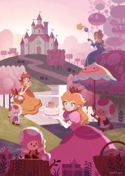 2boys 4girls basket blonde_hair bread cake cane castle chiko_(mario) crown cup dress field food gift grass hans_tseng highres lake mario_(series) multiple_boys multiple_girls mushroom perry_(mario) picnic_basket plate pouring princess_daisy princess_peach rosetta_(mario) sitting super_mario_bros. tea_kettle teacup toad toadette toadsworth tree tree_stump