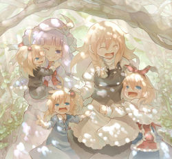 5girls alice_margatroid alice_margatroid_(pc-98) apron apron_tug blonde_hair blue_eyes braid capelet carrying child crescent dappled_sunlight dress eyes_closed fang hair_bobbles hair_ornament hair_ribbon hat hourai_doll juliet_sleeves kirisame_marisa long_sleeves multiple_girls one_eye_closed open_mouth patchouli_knowledge pointing pointing_forward puffy_sleeves purple_dress purple_eyes purple_hair ribbon shanghai_doll shirt shunsuke side_ponytail single_braid skirt skirt_set smile striped striped_dress touhou touhou_(pc-98) vest waist_apron