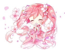 1girl alternate_color bangs blush chibi detached_sleeves eyes_closed flower frilled_skirt frills hair_flower hair_ornament hatsune_miku holding holding_flower myoya petals pink_hair pink_legwear sakura_miku simple_background sitting skirt smile solo tattoo thighhighs twintails vocaloid white_background