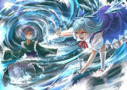 2girls battle blue_dress blue_eyes blue_hair cirno dress fang folded_leg haru-kun head_fins ice japanese_clothes kimono kneehighs long_sleeves looking_at_another mermaid monster_girl multiple_girls obi open_mouth outstretched_arms outstretched_hand partially_submerged ribbon sash short_hair short_sleeves smile spread_arms standing_on_one_leg tail tail_grab touhou wakasagihime water whirlpool white_legwear wings