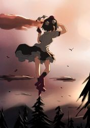 1girl arm_up bird black_hair geta hashiro hat highres pointy_ears shameimaru_aya shirt short_hair short_sleeves skirt socks tengu-geta tokin_hat touhou tree