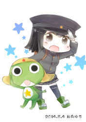 1girl :d akitsu_maru_(kantai_collection) black_hair brown_eyes crossover frog hat hinata_yuu kantai_collection keroro keroro_gunsou looking_at_viewer open_mouth peaked_cap pleated_skirt salute school_uniform short_hair skirt smile tagme