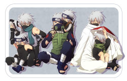 age_progression age_regression ankle_wraps artist_request bare_shoulders elbow_gloves emblem fingerless_gloves forehead_protector hair_over_one_eye half_mask hatake_kakashi multiple_persona naruto outside_of_border scar scarf silver_hair sitting sleeveless tattoo toeless_legwear