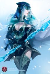 1girl armor armored_boots artist_name ashe_(league_of_legends) blue_eyes boots bow bow_(weapon) breasts cleavage cloak closed_mouth corset cowboy_shot elbow_gloves eyes_closed fur gloves helmet hood ice large_breasts league_of_legends lips long_hair looking_to_the_side na_young_lee open_mouth pale_skin profile queen side_slit skirt snow solo standing teeth thigh_boots thighhighs thighs weapon white_hair winter zettai_ryouiki