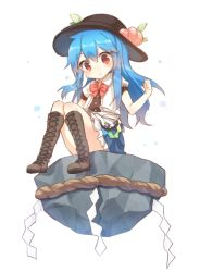 1girl blue_hair blush boots bowtie dress food fruit full_body hat hinanawi_tenshi leaf long_hair looking_down peach pout puffy_sleeves red_eyes rock rope shimenawa shinoba short_sleeves simple_background sitting solo touhou upskirt white_background