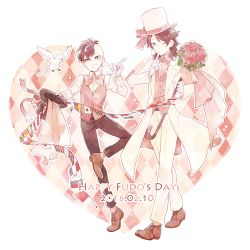 2boys animal animal_on_shoulder bird bird_on_shoulder bow bowtie brown_hair date_pun dated dove dual_persona english flag fudou_akio gloves grin hat heart highres inazuma_eleven inazuma_eleven_(series) inazuma_eleven_go male_focus multiple_boys number_pun one_eye_closed saku_anna smile top_hat white_gloves