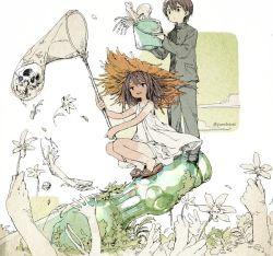 1boy 1girl bones bucket bug_net flower gakuran hat net original parallela66 severed_arm severed_limb skull straw_hat tanline twitter_username