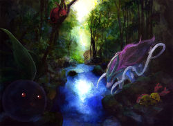 chingling forest nature no_humans oddish pokemon red_eyes scenery suicune traditional_media tree venipede wanwannyaaaura water watercolor_(medium)