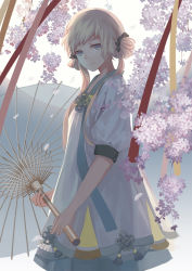 1girl ao_hitomi backlighting blonde_hair blue_eyes cherry_blossoms cowboy_shot double_bun dress head_tilt holding light_smile looking_at_viewer looking_to_the_side oriental_umbrella petals pixiv_fantasia pixiv_fantasia_new_world solo twintails umbrella