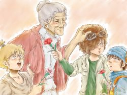 1girl 3boys annoyed bat_(hokuto_no_ken) black_hair blonde_hair blush brown_eyes brown_hair child eyes_closed flower goggles grabbing grandmother_and_grandson hair_bun hand_on_another's_head highres hokuto_no_ken jacket looking_away looking_to_the_side looking_up multiple_boys nisejuuji old_woman open_mouth rose silver_hair smile tagme taki_(hokuto_no_ken) toyo_(hokuto_no_ken) turban