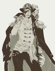 1boy 69bones black_hair cigar epaulettes eyepatch hat hook_hand jacket_on_shoulders jewelry long_coat long_hair male_focus monochrome one_piece pirate_hat ring scar sir_crocodile smoking tricorne