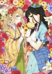 2girls absurdres black_eyes black_hair blonde_hair blue_eyes bracelet dress earrings face-to-face flower gloves hair_flower hair_ornament highres holding holding_flower japanese_clothes jewelry kimono kippu long_hair long_sleeves looking_at_viewer mole mole_under_eye multiple_girls puffy_sleeves short_sleeves smile striped too_many vertical_stripes white_gloves
