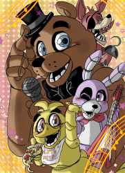 1girl 3boys animal_ears bib blue_eyes bonnie_(fnaf) bow bowtie bunny_ears chica electric_guitar eyepatch five_nights_at_freddy's food foxy_(fnaf) freddy_fazbear grey_eyes guitar hat hook_hand instrument looking_at_viewer mechanical microphone mini_hat mini_top_hat multiple_boys musical_note no_humans one_eye_closed open_mouth pizza purple_eyes red_eyes robot robot_joints smile star top_hat yellow_background