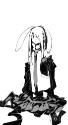 1girl animal_ears blazer bunny_ears hair_over_one_eye highres long_hair monochrome necktie reisen_udongein_inaba ruukii_drift sketch skirt sleeves_past_wrists solo touhou younger
