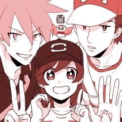 3boys bangs baseball_cap close-up hat male_focus male_protagonist_(pokemon_sm) monochrome multiple_boys new_year ookido_green ookido_green_(sm) open_collar otyaume_1910 pokemon pokemon_(creature) pokemon_(game) pokemon_sm raglan_sleeves red_(pokemon) red_(pokemon)_(sm) rowlet shirt short_hair simple_background smile spiked_hair striped striped_shirt swept_bangs t-shirt upper_body white_background