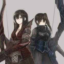 2girls akagi_(kantai_collection) alternate_costume armor armored_skirt bow_(weapon) breasts brown_eyes brown_hair cleavage grey_background ichi_inaru jewelry kaga_(kantai_collection) kantai_collection long_hair looking_at_viewer monster_hunter multiple_girls necklace rathalos_(armor) side_ponytail simple_background weapon