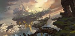 bridge castle cloud debris dragon dutch_angle floating_island highres kongjian_bo motion_blur no_humans original ruins scenery sunlight tree