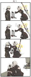 1boy 1girl 4koma black_dress black_hairband blindfold boots comic covered_eyes dress feather-trimmed_sleeves fuyu_kotatsu gloves hairband highres juliet_sleeves long_sleeves nier_(series) nier_automata pod_(nier_automata) puffy_sleeves short_hair silver_hair sword translation_request weapon weapon_on_back yorha_no._2_type_b yorha_no._9_type_s
