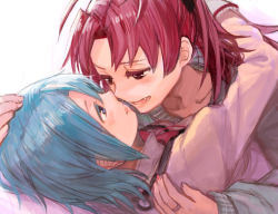 2girls blue_eyes blue_hair blush fang fukutarou_(enji127) hand_on_another's_head hug incipient_kiss jewelry long_hair mahou_shoujo_madoka_magica miki_sayaka multiple_girls red_eyes ring sakura_kyouko short_hair yuri